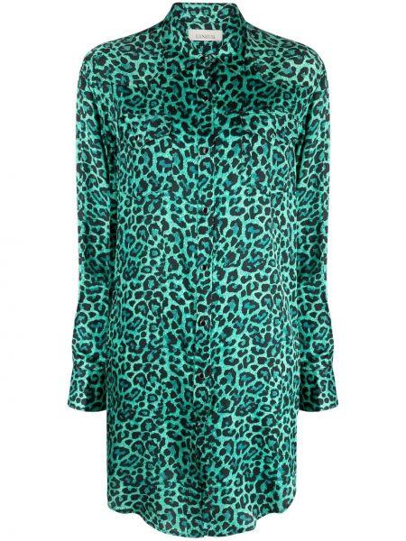 Зеленое платье макси с воротником из вискозы Laneus