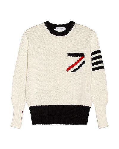 Klasyczny biały pulower bawełniany Thom Browne
