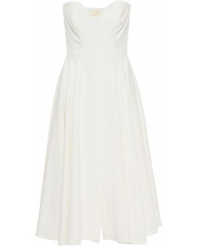 Расклешенное белое платье миди без бретелек Sara Battaglia