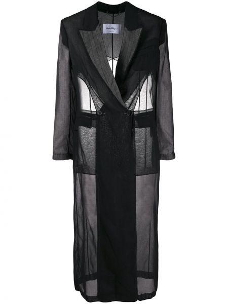 Черное длинное пальто двубортное на пуговицах Salvatore Ferragamo