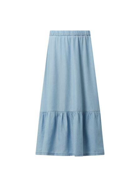 Niebieska spódnica jeansowa rozkloszowana z falbanami Edc By Esprit