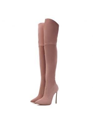 Розовые замшевые ботфорты Casadei