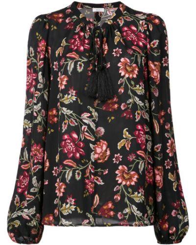 Блузка с длинным рукавом с цветочным принтом черная Alc