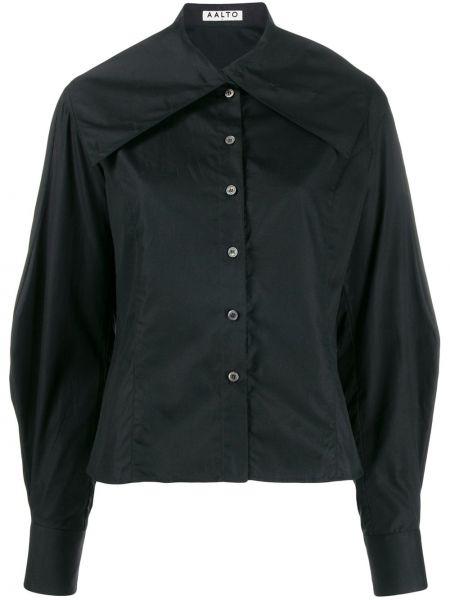 Czarna koszula bawełniana z długimi rękawami Aalto
