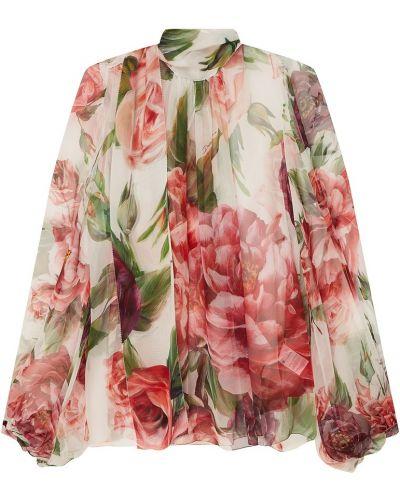 Блузка с воротником-стойкой шелковая Dolce&gabbana