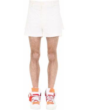 Białe krótkie szorty z paskiem bawełniane Haervaerk