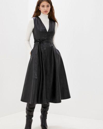 Кожаное черное платье You&you