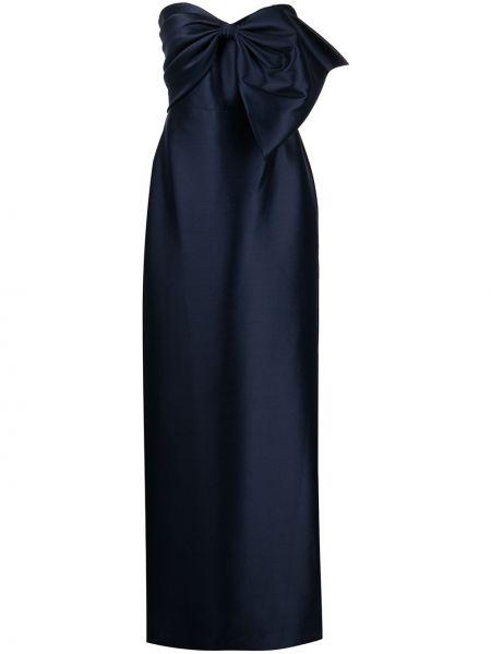 Сатиновое синее вечернее платье с вырезом Badgley Mischka