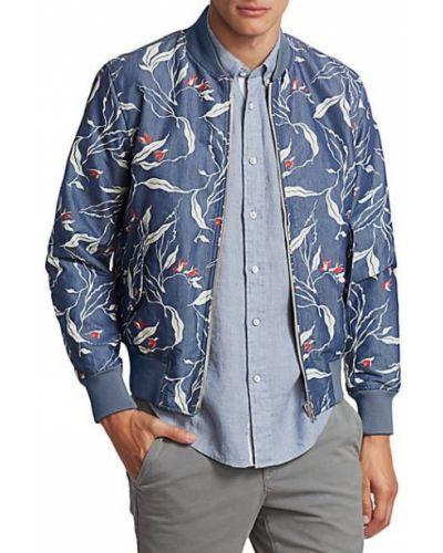 Niebieska długa kurtka bawełniana z długimi rękawami Rag & Bone
