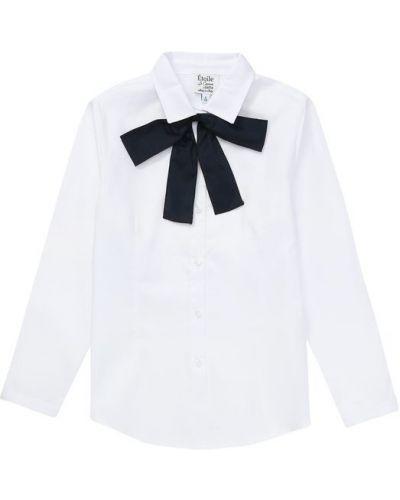 Блузка с длинным рукавом с бантом белая Aletta