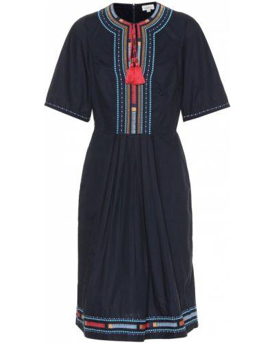 Niebieska sukienka z haftem bawełniana Talitha