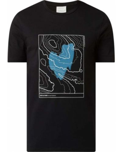 Czarny t-shirt bawełniany z printem Armedangels