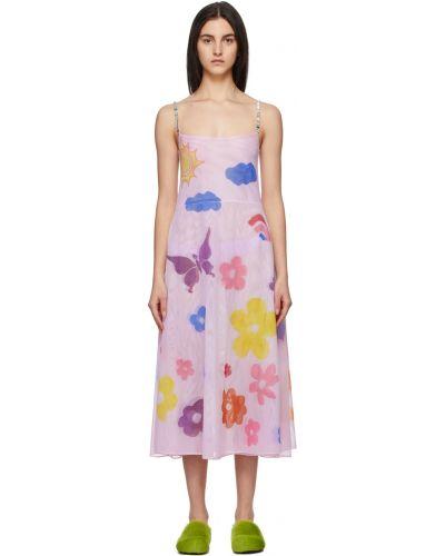 Sukienka w kwiaty - różowa Collina Strada
