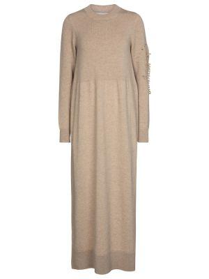 Кашемировое бежевое платье макси Barrie
