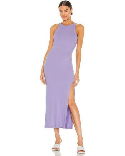 Фиолетовое кожаное платье-рубашка для полных Lna
