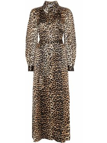 Платье макси на пуговицах леопардовое Ganni
