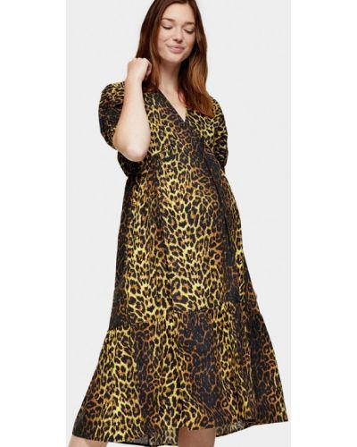 Коричневое прямое платье для беременных Topshop Maternity