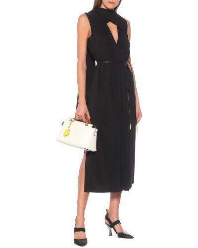 Черное платье миди из вискозы Fendi
