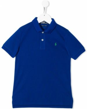 Асимметричная синяя классическая рубашка Ralph Lauren Kids