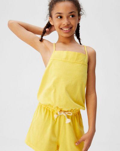 Комбинезон желтый со складками Mango Kids