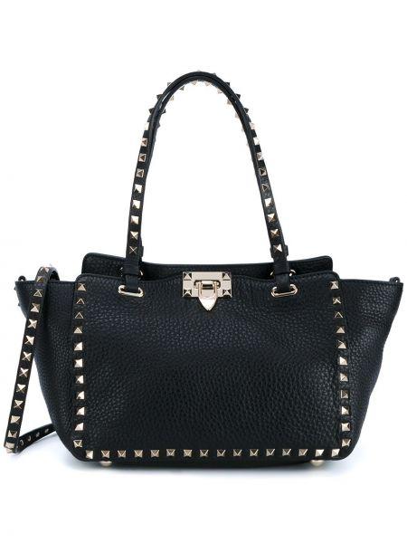 Черная кожаная сумка-тоут на молнии Valentino