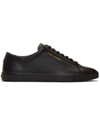 Ażurowy czarny sneakersy na sznurowadłach okrągły Saint Laurent