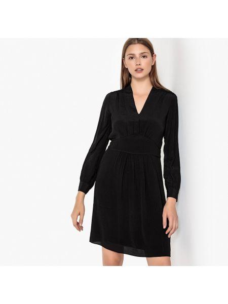 Черное расклешенное платье мини с V-образным вырезом на молнии Sud Express