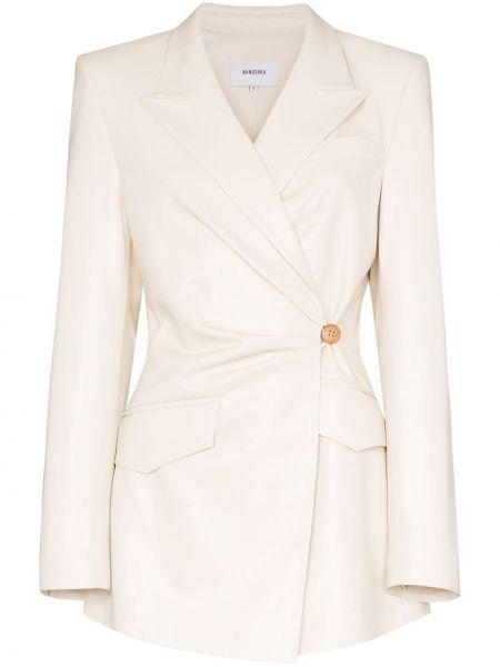 Кожаный пиджак с карманами на пуговицах Nanushka