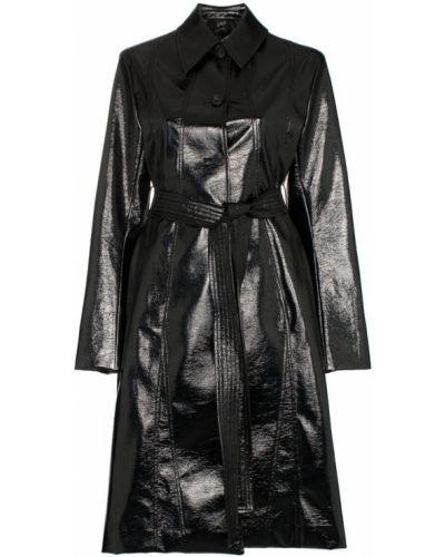 Черное пальто классическое с капюшоном с воротником Low Classic