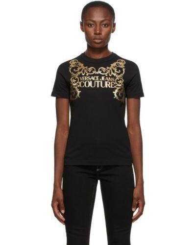 Трикотажная черная джинсовая рубашка с воротником Versace Jeans Couture