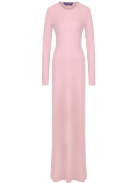Шерстяное клубное розовое платье макси с длинными рукавами Ralph Lauren