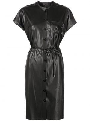 Черное платье мини с короткими рукавами Theory
