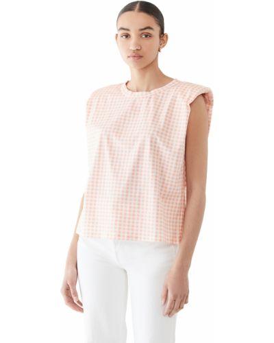 Розовая хлопковая футболка с декольте English Factory