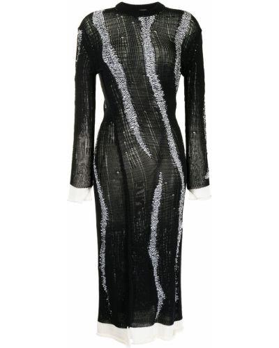 Czarna sukienka midi prążkowana Mrz
