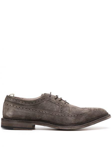 Ażurowy skórzany buty brogsy na pięcie Officine Creative