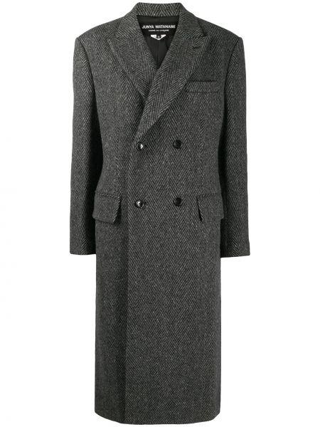 Серое шерстяное длинное пальто двубортное Junya Watanabe