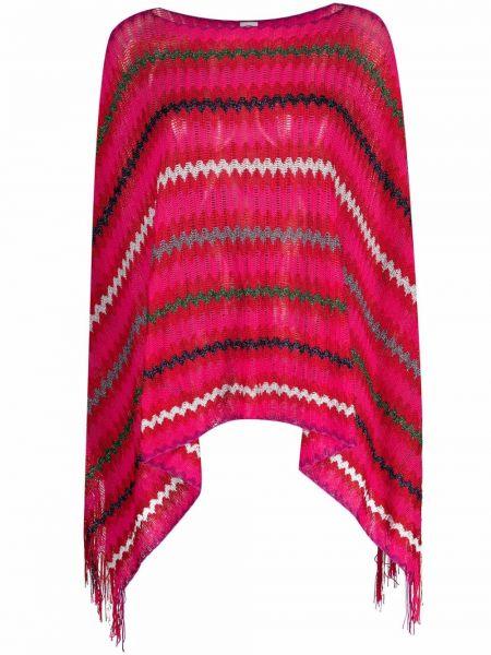Розовое пончо из вискозы с вырезом M Missoni