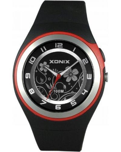 Czarny zegarek sportowy w kwiaty Xonix