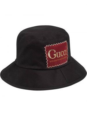 Czarny kapelusz bawełniany Gucci
