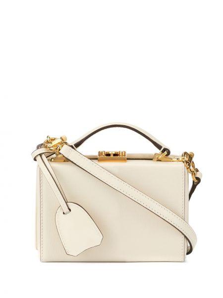 Кожаная золотистая белая маленькая сумка Mark Cross