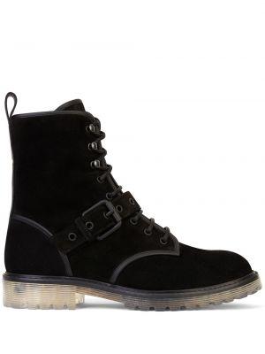 Ażurowy skórzany czarny buty na pięcie zasznurować Giuseppe Zanotti