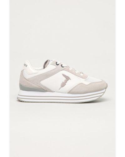 Białe sneakersy na platformie skorzane Trussardi Jeans