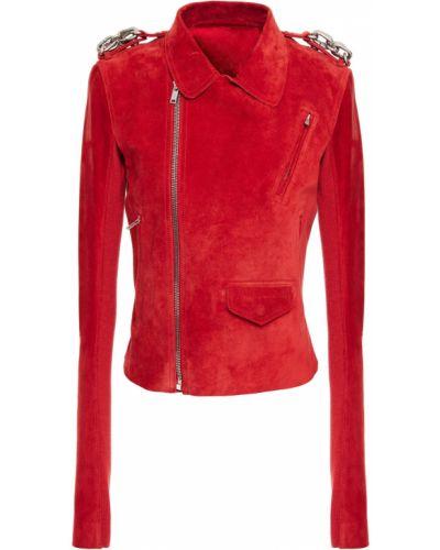 Prążkowana kurtka skórzana asymetryczna Rick Owens