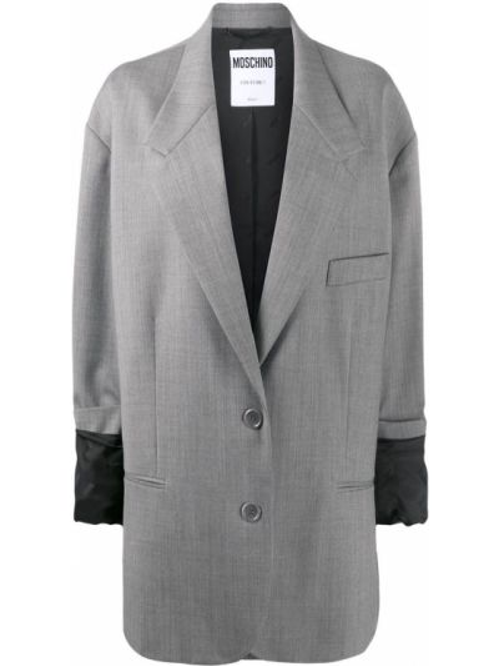 Серый пиджак оверсайз с карманами Moschino