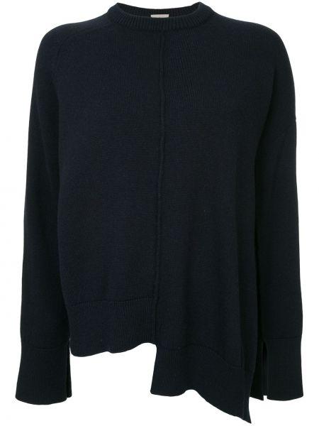 Шерстяной синий свитер свободного кроя с круглым вырезом Mrz