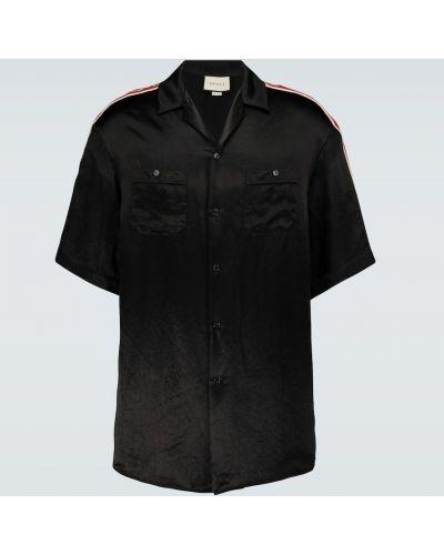 Черная рубашка с короткими рукавами с воротником Gucci