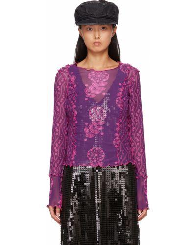Фиолетовая футболка длинная Anna Sui
