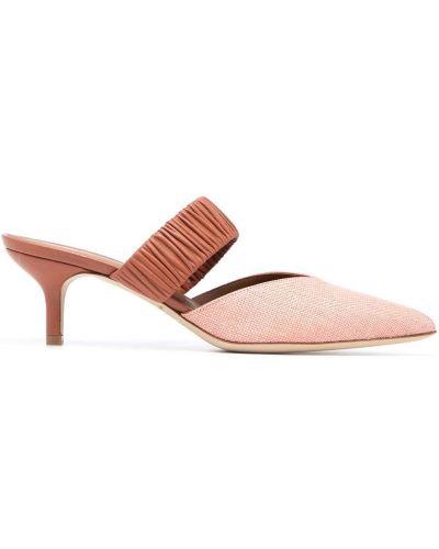 Розовые кожаные мюли на каблуке Malone Souliers