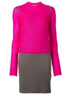 Розовое платье миди в рубчик из мохера винтажное Walter Van Beirendonck Pre-owned