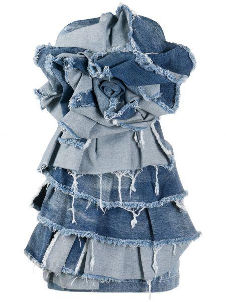 Хлопковое синее джинсовое платье с бахромой без бретелек Redemption